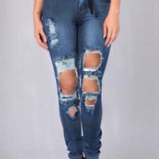 Euramerican High Waist Broken Holes Deep Blue Denim Pants