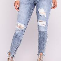 Euramerican High Waist Broken Holes Zipper Design Dark Blue Denim Pants