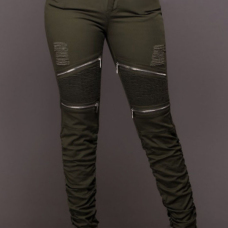 Euramerican High Waist Zipper Design Green Cotton Blends Pants