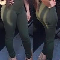 Euramerican High Waist Zipper Design Green Denim Pants