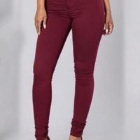 Euramerican High Waist Zipper Design Wine Red Denim Pants