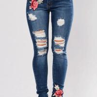Fashion Mid Waist Broken Holes Embroidered Design Dark Blue Denim Pants