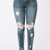 Stylish Mid Waist Broken Holes Blue Denim Pants