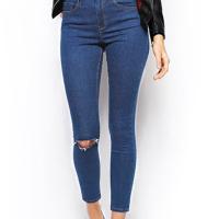 Stylish Mid Waist Broken Holes Dark Blue Denim Pants