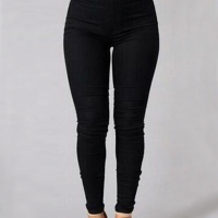 Trendy High Waist Black Denim Pants