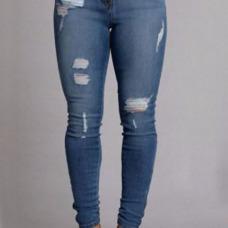 Trendy High Waist Broken Holes Deep Blue Denim Pants