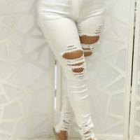 Trendy High Waist Broken Holes White Denim Jeans