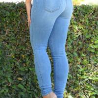 Trendy High Waist Zipper Design Baby Blue Denim Pants