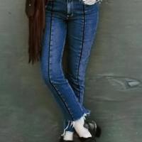 Trendy High Waist Zipper Design Blue Denim Jeans
