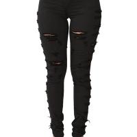 Trendy Mid Waist Broken Holes Black Denim Zipped Jeans