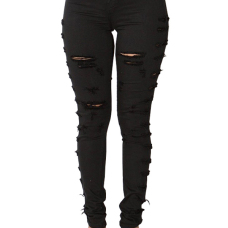 Trendy Mid Waist Broken Holes Black Denim Zipped Jeans