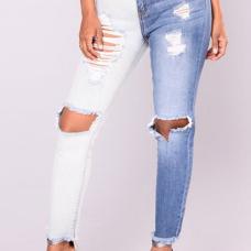 Trendy Mid Waist Broken Holes Blue-white Denim Pants