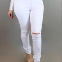 Trendy Mid Waist Broken Holes White Denim Pants