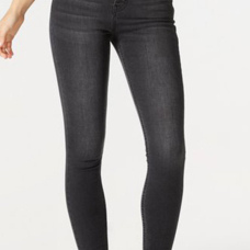 Trendy Mid Waist Zipper Fly Dark Grey Denim Pants