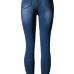 Fashion High Waist Broken Holes Blue Cotton Blend Skinny Jeans