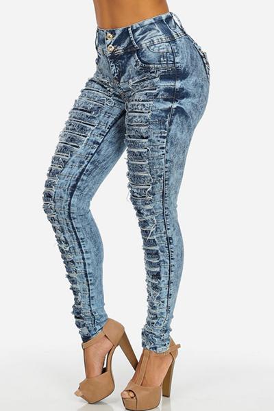 Stylish Mid Waist Hollow-out Design Blue Denim Skinny Jeans
