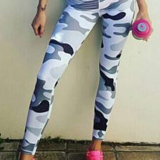 Euramerican Mid Waist Camouflage Printing Grey Blending Leggings