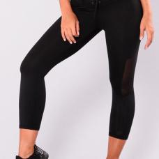 Fashion Mid Waist Lace-up Net Yarn Splicing Black Polyester Leggings