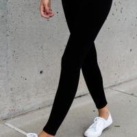 Leisure Elastic Waist Black Cotton Blends Leggings