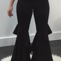 Euramerican High Waist Falbala Design Black Qmilch Pants
