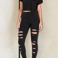 Leisure Elastic Waist Broken Holes Black Polyester Pants