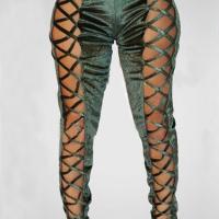 Sexy High Waist Hollow-out Green Pleuche Pants