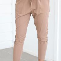 Trendy Elastic Waist Lace-up Khaki Cotton Blends Pants