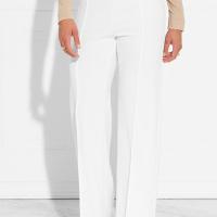 Trendy High Elastic Waist White Polyester Pants