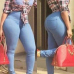 Fashion Button Fly Design Solid Blue Elastic Denim Skinny Pants