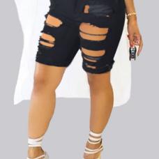 Trendy High Waist Broken Holes Black Skinny Shorts