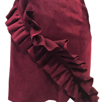 Euramerican Flounce Design Jujube-red Polyester Sheath Mini Skirts