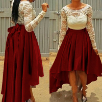 Fashion Bow Embellished Asymmetrical Solid Wine Red Polyester A Line Mini Swallow-tail Skirt