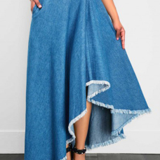 Trendy Asymmetrical Blue Denim Ankle Length Skirts