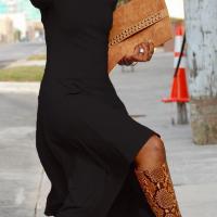 Fashionable Bateau Neck Dew Shoulder Black Cotton Ankle Length Dress