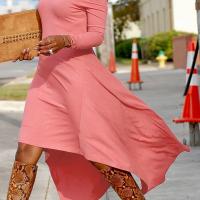 Fashionable Bateau Neck Dew Shoulder Pink Cotton Ankle Length Dress
