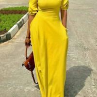 Leisure Round Neck Pocket Design Yellow Polyester Floor Length Dress