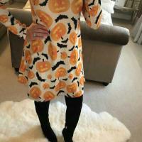 Leisure Round Neck Pumpkin Printing Milk Fiber Knee Length Dress