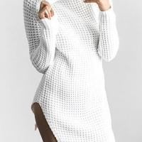 Polyester Casual Turtleneck Cap Sleeve Long Sleeve Sheath Mini Dresses