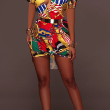 Retro Turndown Collar Non Positioning Printed Polyester Mini Shirt Dress(Without Belt)
