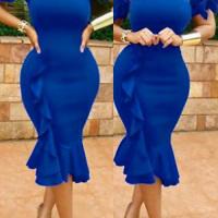 Sexy Bateau Neck Ruffle Design Blue Polyester Knee Length Dress