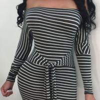 Sexy Bateau Neck Striped Lace-up Black Polyester Mini Dress