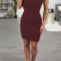 Sexy Bateau Neck Zipper Design Wine Red Cotton Blend Mini Dress