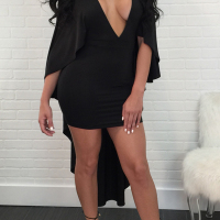 Sexy Deep V Neck Asymmetrical Design Black Polyester Mid Calf Dress
