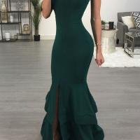 Sexy Dew Shoulder Falbala Design Green Polyester Ankle Length Dress
