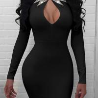 Sexy Mandarin Collar Hot Drilling Decorative Hollow-out Black Healthy Fabric Mini Dress
