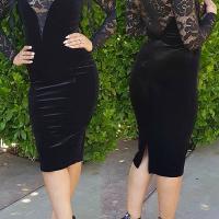 Sexy Round Neck See-Through Black Velvet Knee Length Dress