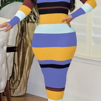 Sexy Round Neck Striped Patchwork Purple Polyester Ankle Length Dress