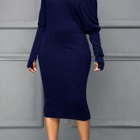 Sexy Sloping Shoulder Gloves Design Royalblue Cotton Blend Mid Calf Dress