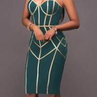 Sexy Spaghetti Strap Sleeveless Striped Printed Green Polyester Sheath Knee Length Dress