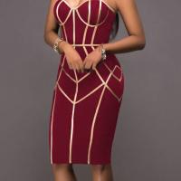 Sexy Spaghetti Strap Sleeveless Striped Printed Wine Red Polyester Sheath Knee Length Dress